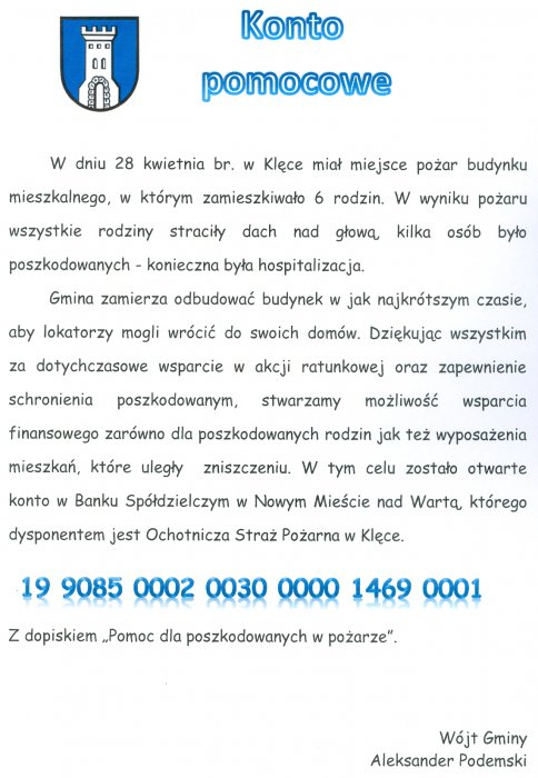 Konto pomocowe dla poszkodowanych wpożarze wKlęce