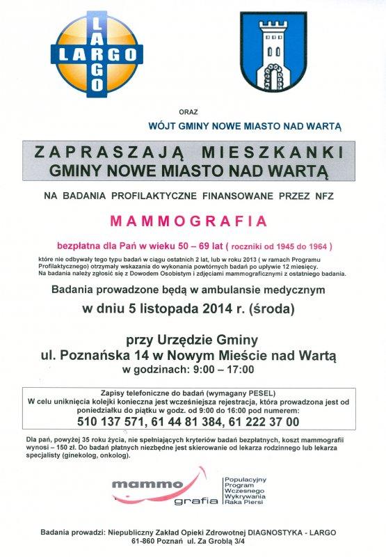 Bezpłatna mammografia wGminie Nowe Miasto nad Wartą wdniu 5 listopada 2014 r.